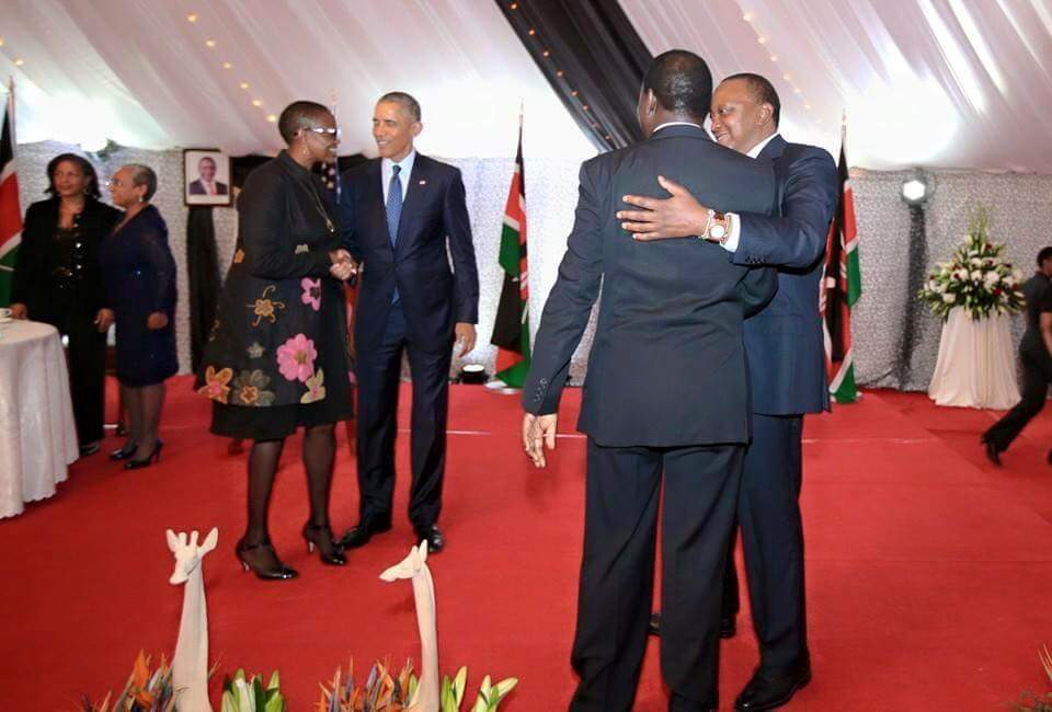 On the left is Green Belt Movement Board Chair Wanjira Mathai and President Obama at the State Banquet hosted by President Uhuru Kenyatta at State House Nairobi. On the right, President Kenyatta with a guest at the event.