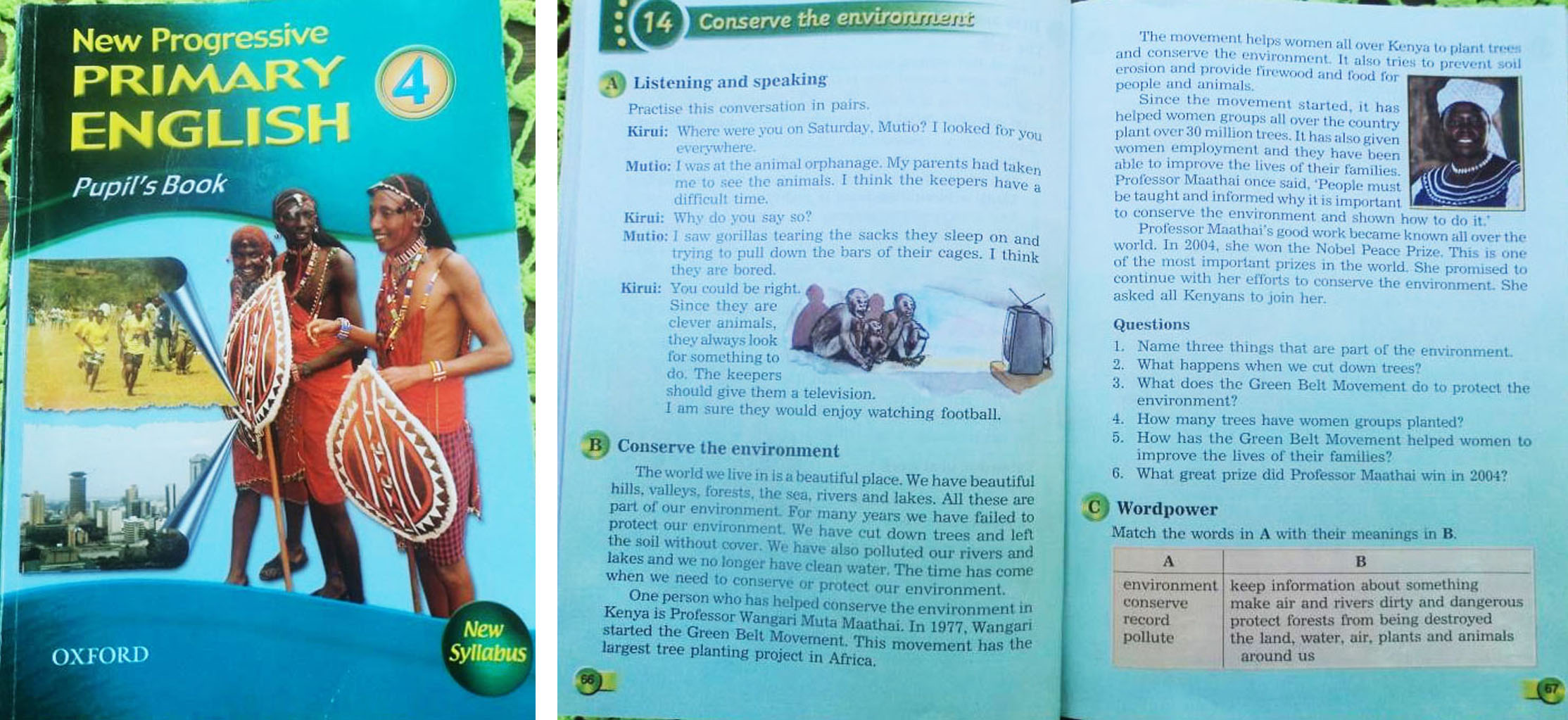 Left: The School Text book from which pupils learn about Environmental Conservation, Right: inside the book where the notes and assignment was drawn from.