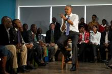 US President Barack Obama speaks during an event with representatives of Civil Society organisations at the Young African Leaders Initiative (YALI) Regional Leadership Center in Nairobi on July 26, 2015.
