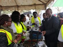 Nakuru Governor H.E Lee Kinyanjui at the GBM stand where he learnt about the products made from recycled plastic waste